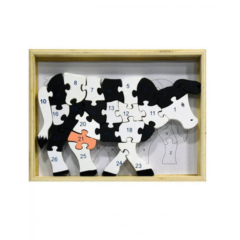 Wooden Puzzle Blocks ABC & 123 Cow Design For Kids