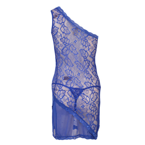Pack of 2 Short Floral Net Nighty and G-String Panty for Women (Free Size) - Dark Blue UG-398