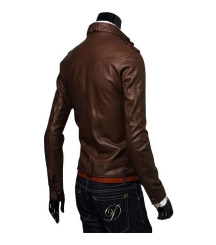 Brown - Faux Leather Jacket for Men