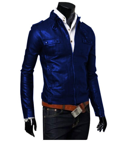 Blue Faux Leather Highstreet Jacket for Men