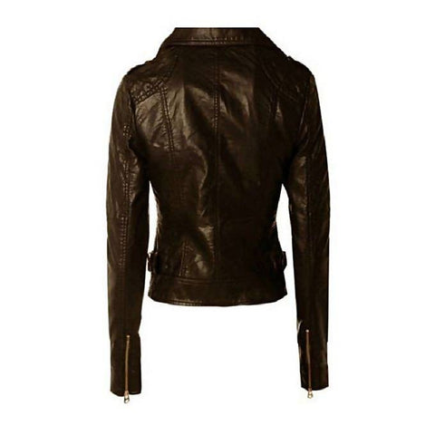 Women Slim Fit PU Biker Leather Jacket Chocolate Brown MB-126