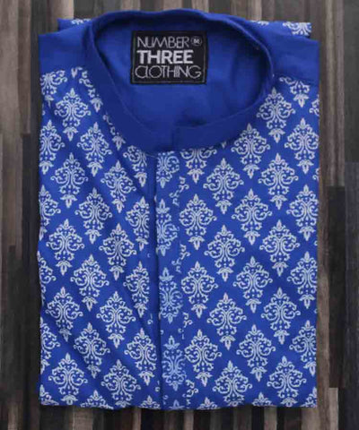 Blue Screen Printed Kurta-H-32