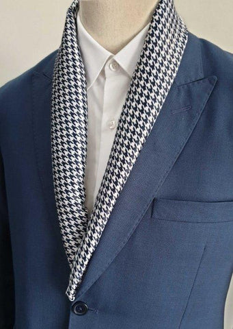 Blue Houndstooth Scarf