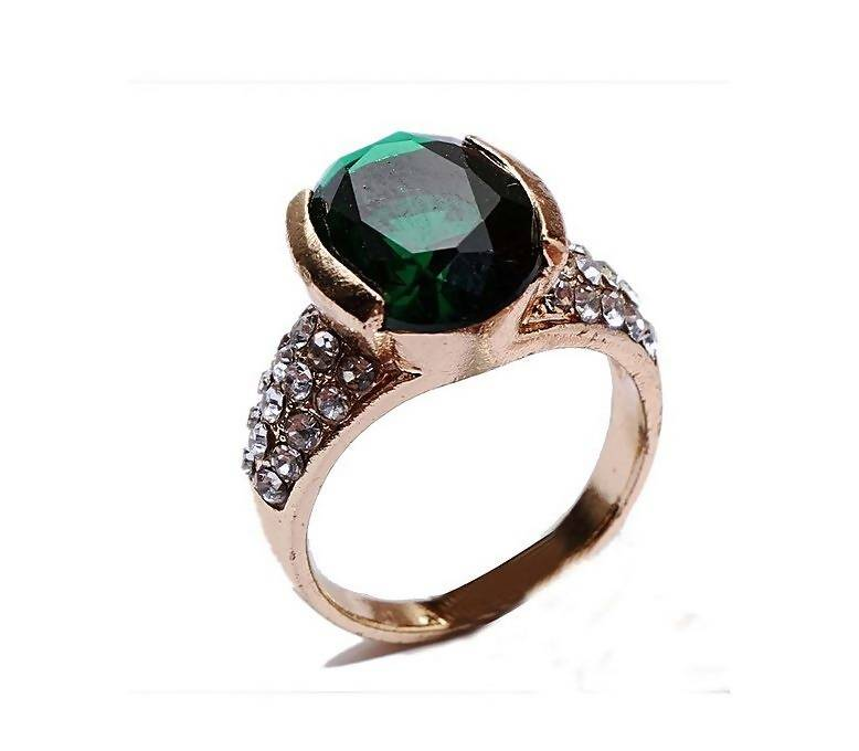 Green Gemstone Gold Platted Ring For Women