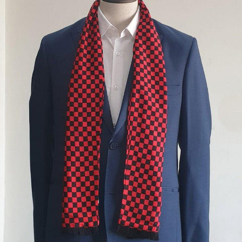 Red & Black Boxed Scarf