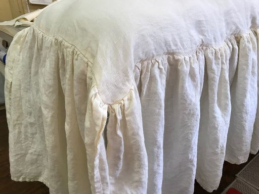 Slipcover with Long Gathered Skirt for your Wood Bench-Cushion Insert-Washed Linen Slipcover