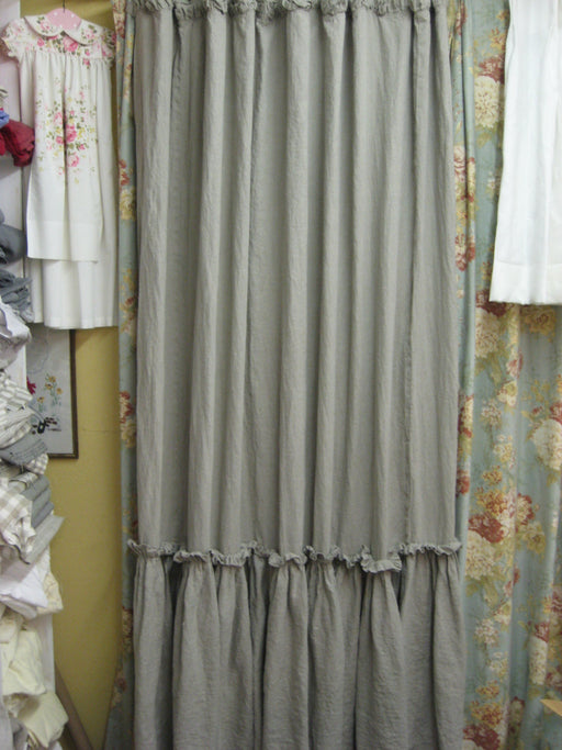 Ruffled Shower Curtain-Washed Linen in White---Bath Linens Made to Order-Artisan Style Washed Linens for your Home