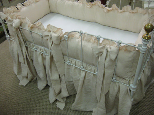 Nursery Linens for Sleigh Style Cribs-Heirloom Pink Washed Linen