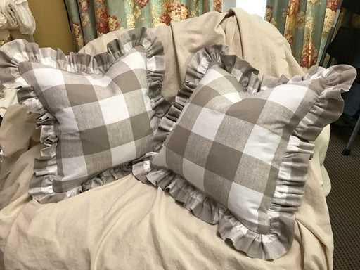 Bufflao Check Washed Cotton Ruffled Pillow Shams-Zip Closure on Each-Made to Order Ruffled Pillows-Your Fabric or Mine-Buffalo Plaid-2 Shams
