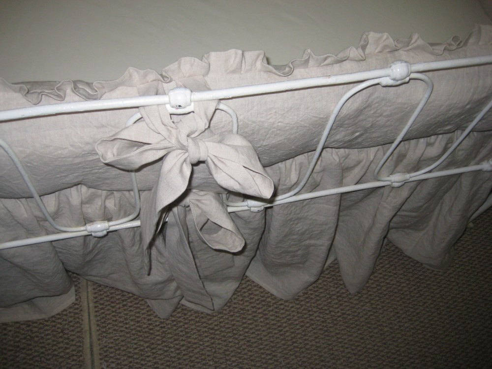 "Washed Linen Crib Bedding--1"" Ruffled Bumpers-Sash Ties-Storybook Crib Skirt-Traditional Style Baby Bedding-Custom Nursery"
