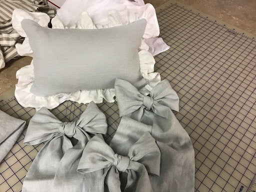 Crib Linen Accessory Bedding Separates in Washed Linen---Fitted Crib Sheet-Crib Pillow-3 Crib Bows