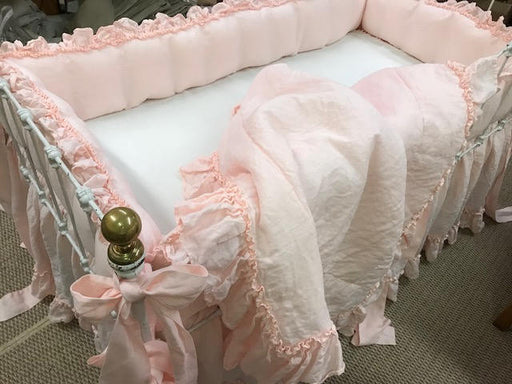 Couture Crib Bedding-Bumpers-Crib Skirt-Crib Blanket-All Pieces with Hemmed Double Ruffle Detail-Washed Linen in Baby Pink