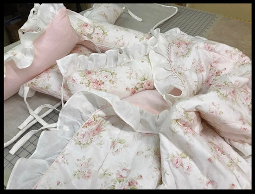 Baby Cradle Bedding-Ruffled Nursery Linens-Cradle Bedding Floral and Pink-Baby Quilt-Receiving Blanket-Fitted Sheet