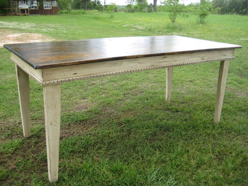 Farm Table - Primitive Style - in Distressed Cream and Warm Brown Stain