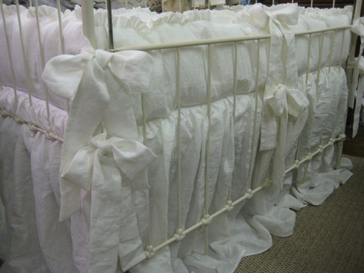 "1"" Ruffled Crib Bedding in Vintage White Washed Linen-1"" Ruffled Bumpers-Storybook Style Crib Skirt-Sash Ties"