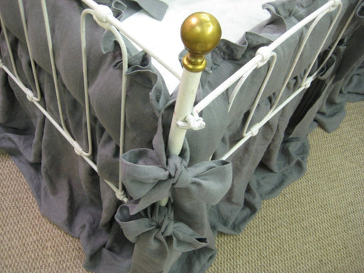 "2"" Ruffled Bumpers with Sash Ties - Storybook Cribskirt - Crib Bedding in Washed Grey Linen"