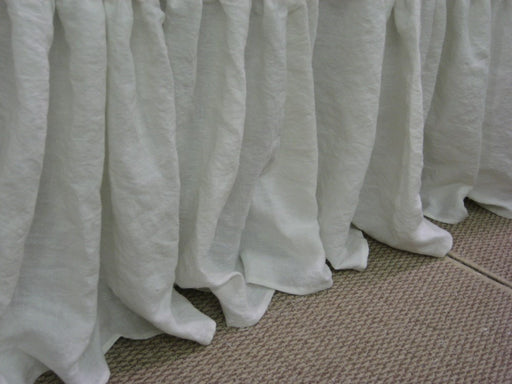 "King Bed Skirt in Washed Bright White Linen-20"" Drop Length-Gathered Bed Skirt-Casual Linen Bedding"