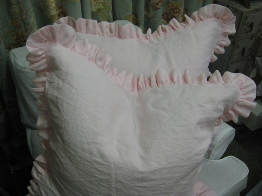 "Pair of Folded Ruffle Euro Shams-Linen Pillow Shams with 2.5"" Ruffle"