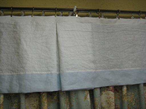 Baby Boy Nursery Window Treatment-White and Light Blue Washed Linen Window Valance