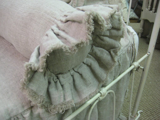 Bolster Pillow Sham with Torn Ruffled Edges in Washed Linen-----Neckroll Pillow Sham- Frayed Ruffle Ends-Zip Closure-Shabby Ruffled Bolster