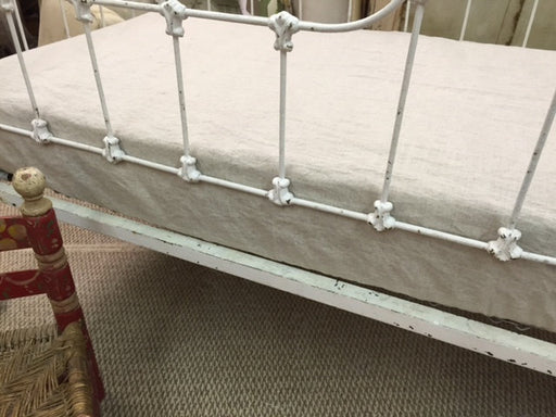 Fitted Crib Sheet in Cream Washed Linen-Nursery Bedding Crib Sheet-Standard Size Crib Sheet