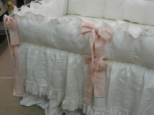 Vintage White and Blush Washed Linen Ruffled Crib Bedding -Ruffled Bumpers-Pair of Crib Skirts-Velvet Ribbon Detail