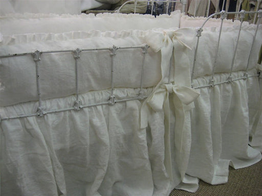 Vintage White Washed Linen Baby Bedding- Petite Ruffled Bumpers-Gathered Crib Skirt