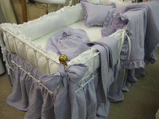 Lavender and Bright White Washed Linen Crib Bedding-Storybook Crib Skirt-Ruffled Bumpers