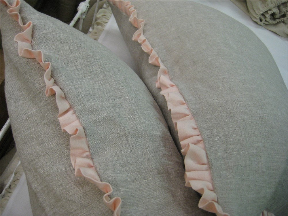 Pair of Ruffled Bed Pillow Shams in Washed Linen-One Inch Ruffled Bed Pillow Shams-Ruffled Pillow Shams-