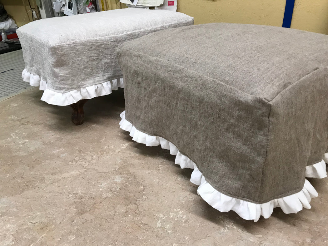 Vintage Ottoman with removable Slipcover