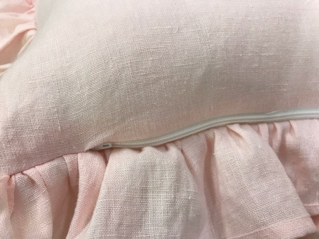 Soft Pink Washed Linen-Set of Three Soft Pink Crib Bows and Ruffled Crib Pillow