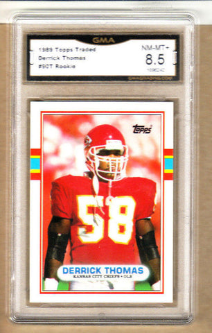 Derrick Thomas - 1989 Topps Traded Rookie Card-Graded-#90T-Chiefs-8.5/10 NM-MT+
