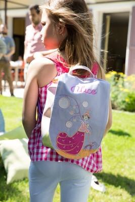 Personalised Children's Backpack A Woman and her Dog - PetitePeople