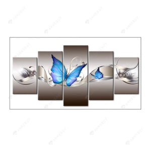 Diamond Painting-5pcs Full Round Drill Blue Butterfly