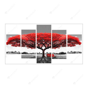 Diamond Painting-5D Full Round Drill 5pcs Red Tree