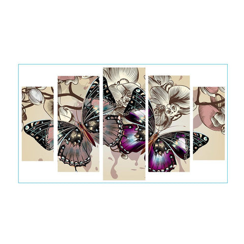 Diamond Painting-5pcs Full Round Drill Colorful Butterfly