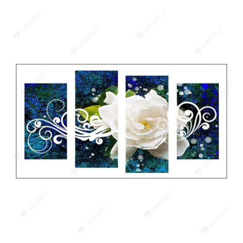 Diamond Painting-5D Full Round Drill 4pcs White Rose