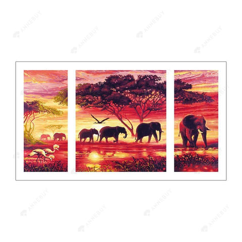 Diamond Painting-5D Full Round Drill 3pcs Elephant