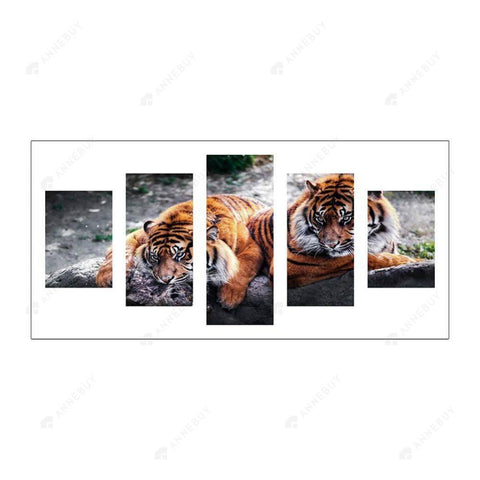 Diamond Painting-5D Full Round Drill 5pcs 2 Tigers