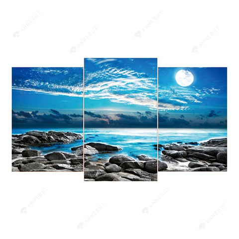 Diamond Painting-5D Full Round Drill 3pcs Sea View