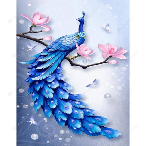 Diamond Painting-5D Full Round Drill Blue Peafowl