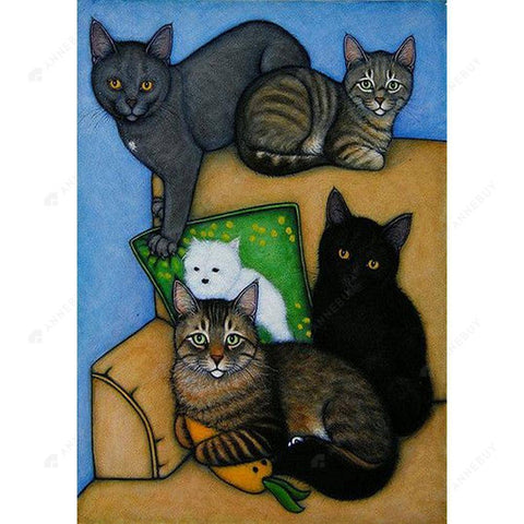 Diamond Painting-DIY Full Square Drill Cats on a Couch