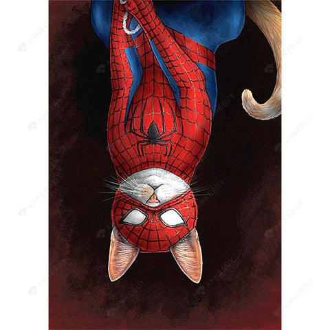 Diamond Painting-DIY Full Square Drill Upside down Spiderman Cat