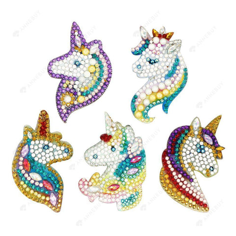 DIY Diamond Painting Keychain/Necklace-Full Round Drill Unicorn