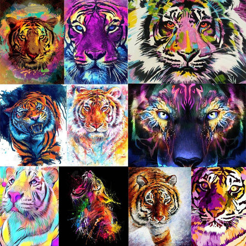 Diamond Painting-DIY Full Round Drill Tiger