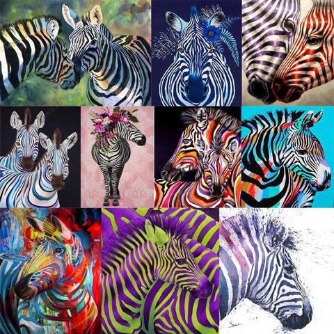 Diamond Painting-DIY Full Round Drill Zebra