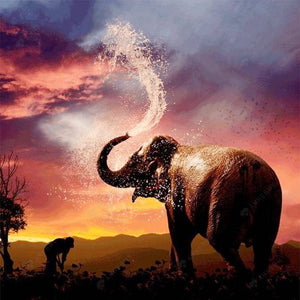 Diamond Painting-DIY Full Square Drill Spouting Elephant