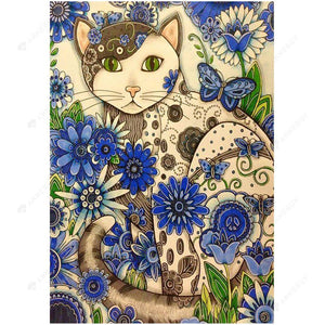 Diamond Painting-DIY Full Square Drill Cats with Flowers