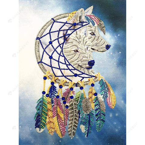 Diamond Painting-DIY Partial Crystal Rhinestones White Wolf