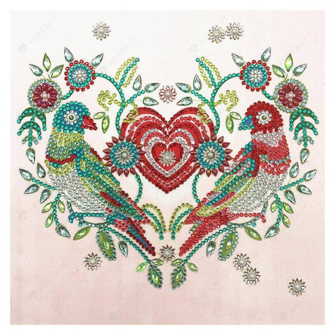 Diamond Painting-DIY Partial Crystal Rhinestones Heart and Brids